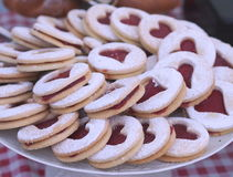 Baked linzer type cookies royalty free stock photo