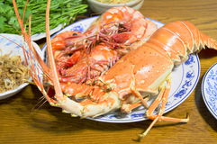 Baked lobster. Seafood at Pattaya market Thailand stock photos