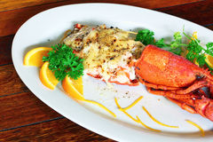 Baked lobster with cheese Stock Image