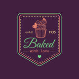 Baked with love vintage cupcake logo. Vector bakery label. Delicious tasteful cookie typographic poster. Hipster pastry icon. Biscuit sign. Desert emblem Royalty Free Stock Images