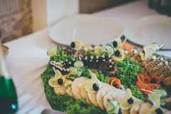 Baked luce on the dish in the restaurant royalty free stock photo