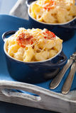 Baked macaroni with cheese in blue casserole Royalty Free Stock Image