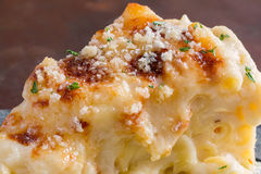 Baked macaroni and cheese. Closeup macro cheesy baked macaroni and cheese pasta portion with parmesean sprinkled on top Royalty Free Stock Images