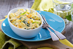 Baked macaroni and cheese with pumpkin. And spinach Stock Images