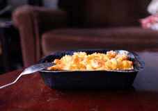 Baked macaroni and cheese in small casserole Royalty Free Stock Image