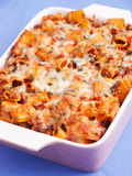 Baked macaroni with meat and cheese Stock Images