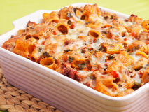 Baked macaroni with meat and cheese Stock Photo