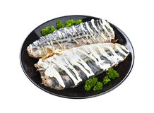 Baked mackerel isolated on white background with clipping path Royalty Free Stock Photography