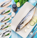 Baked mackerel. Step by step Stock Photo