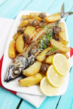 Baked mackerel with vegetables Stock Photography
