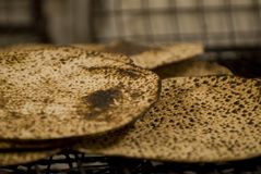 Baked matzah. In a traditional stone oven for the jewish holiday - passover Royalty Free Stock Photo