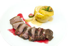 Baked meat with apple Stock Photo