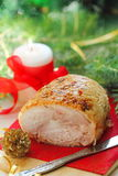 Baked meat for christmas dinner. Royalty Free Stock Image