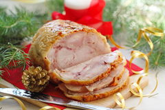 Baked meat for christmas dinner. Stock Photography