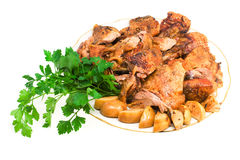 Baked meat of goose royalty free stock photography