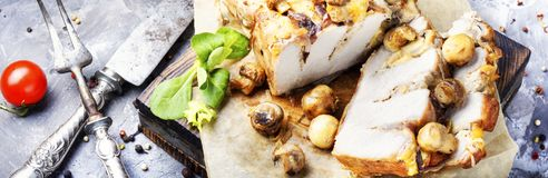 Baked meat with mushrooms Royalty Free Stock Photography