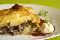 Baked meat with potato. Stock Images