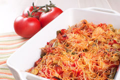 Baked meat and vegetables casserole with cheese Royalty Free Stock Photography