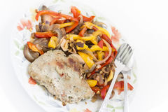 Baked meat with vegetables Stock Photos