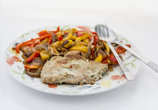 Baked meat with vegetables Stock Images
