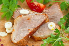Baked meat and vegetables Stock Images