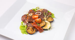 Baked meat with zucchini and eggplant Royalty Free Stock Photo