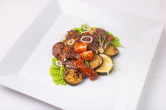Baked meat with zucchini and eggplant Royalty Free Stock Image