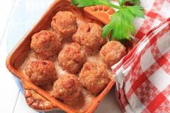 Baked meatballs Royalty Free Stock Images