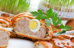 Baked meatloaf in dough with eggs, Easter brunch recipe. Baked meatloaf in dough with eggs, Easter brunch classic recipe Royalty Free Stock Photos