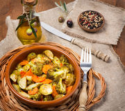 Baked mixed vegetable Stock Photo