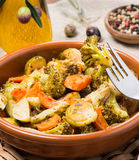 Baked mixed vegetables  (brussels sprouts, carrots, broccoli) Stock Photos