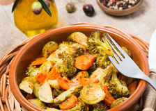 Baked mixed vegetables  (brussels sprouts, carrots, broccoli) Royalty Free Stock Photography