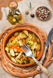 Baked mixed vegetables  (brussels sprouts, carrots, broccoli), t Stock Images