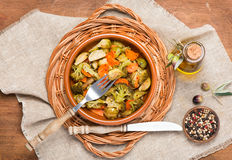 Baked mixed vegetables  (brussels sprouts, carrots, broccoli), t Royalty Free Stock Image