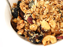 Baked muesli in bowl Royalty Free Stock Photography