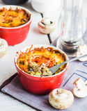 Baked mushroom julienne potatoes with cheese, vegetarian lunch Stock Images
