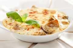 Baked Mushrooms. With Cream Sauce Royalty Free Stock Photography