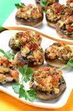 Baked mushrooms with vegetable filling Stock Photos