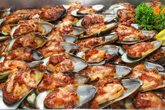 Baked Mussel Stock Photo