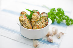Baked Mussel. S with garlic and herbs Stock Photo