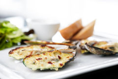 Baked mussels Stock Images