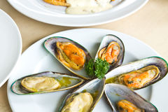 Baked mussels with butter Royalty Free Stock Images