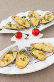Baked Mussels with Cream Cheese Sauce Stock Images