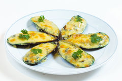 Baked Mussels. European style food looks very palatable Stock Photo
