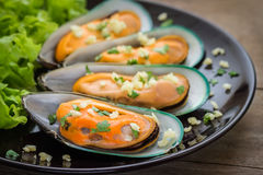 Baked mussels with garlic on plate Stock Image