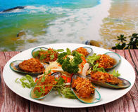 Baked mussels Royalty Free Stock Images