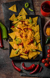 Baked Nachos with cheese Stock Images
