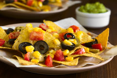 Baked Nachos with Cheese and Vegetables Royalty Free Stock Photography