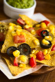 Baked Nachos with Cheese and Vegetables Stock Image