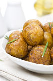 Baked new potatoes with spices, close-up Royalty Free Stock Photography